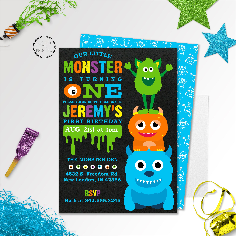 elegant little monster party invitation