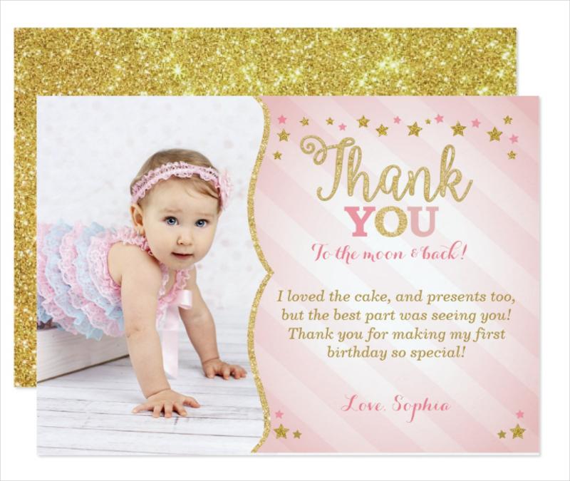 elegant little star thank you invitation