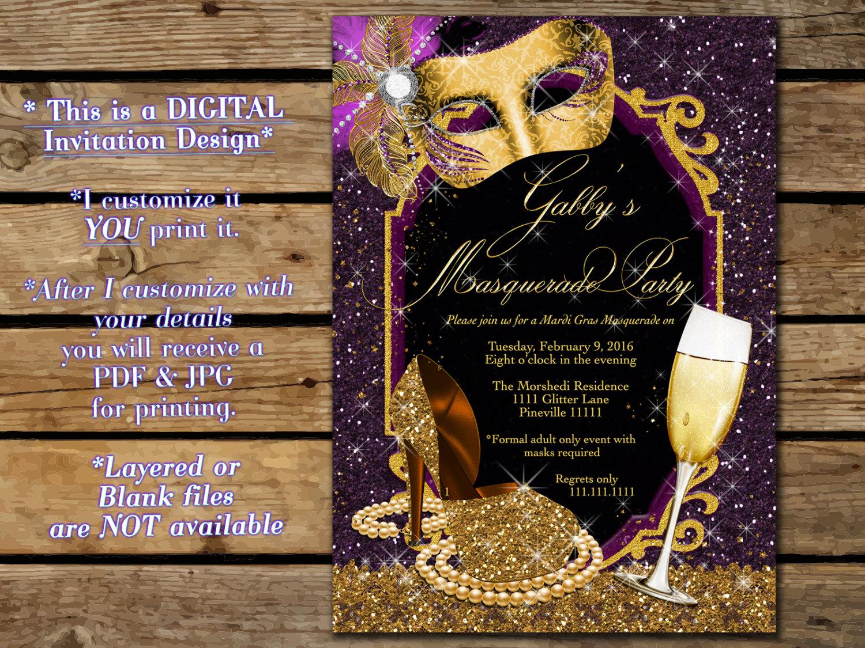 elegant masquerade party invitation