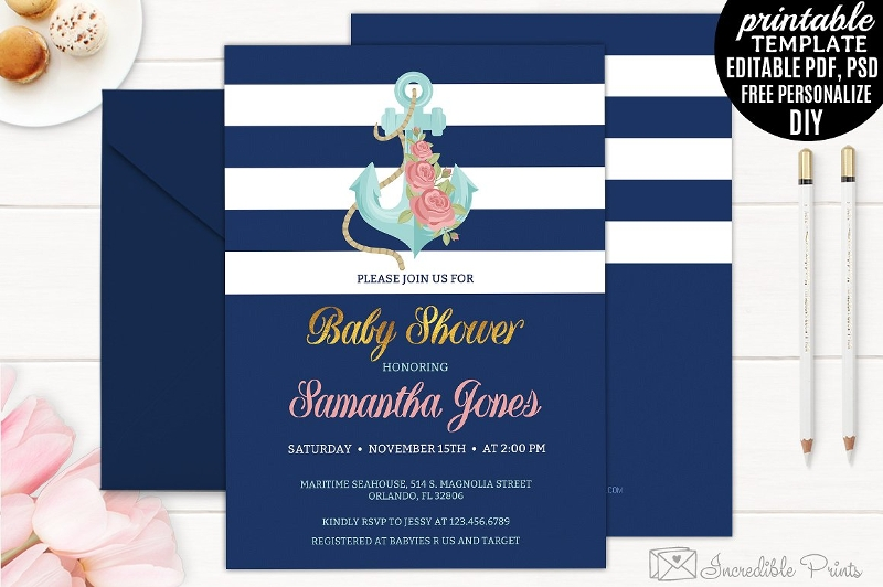 elegant navy nautical baby shower invitation