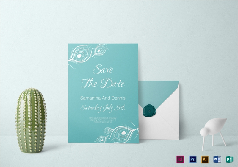 elegant peacock wedding invitation template