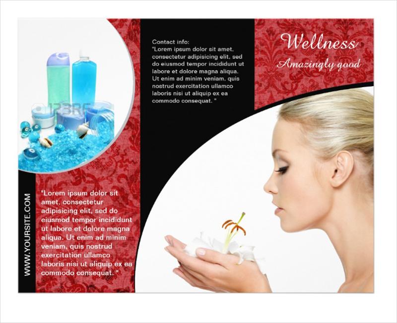 elegant red trifold brochure