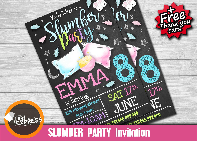 elegant slumber party invitation