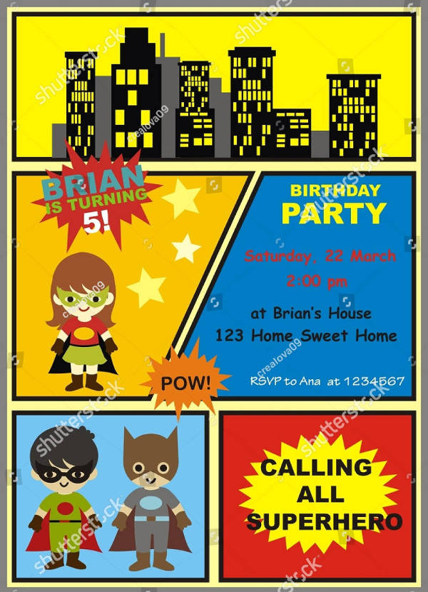 elegant superhero birthday party invitation1