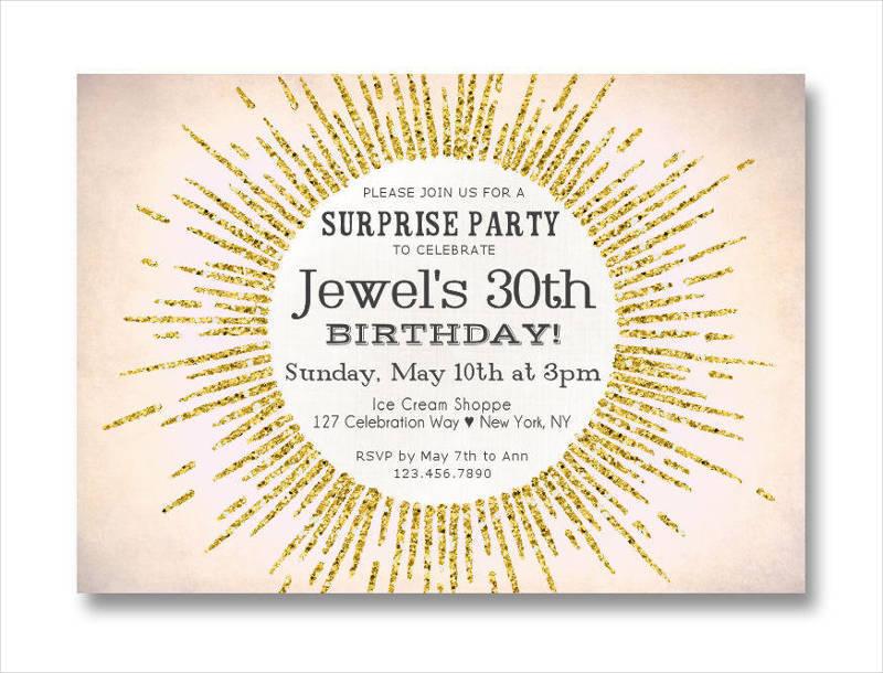 elegant surpise 30th birthday invitation1