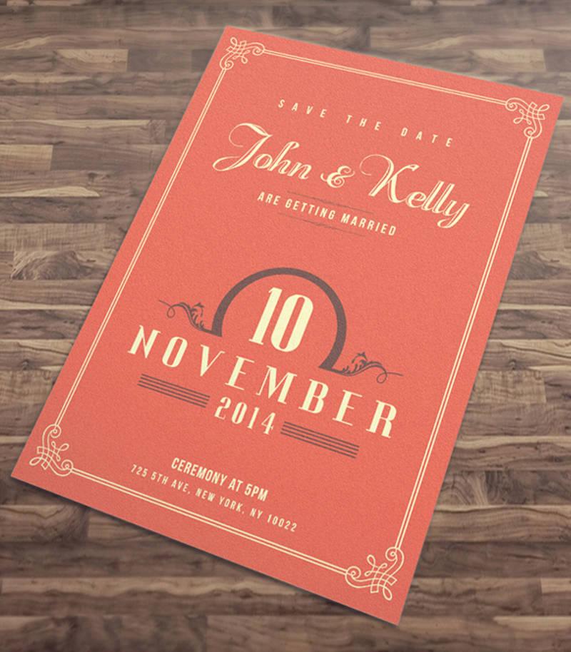 elegant vintage wedding invitation card