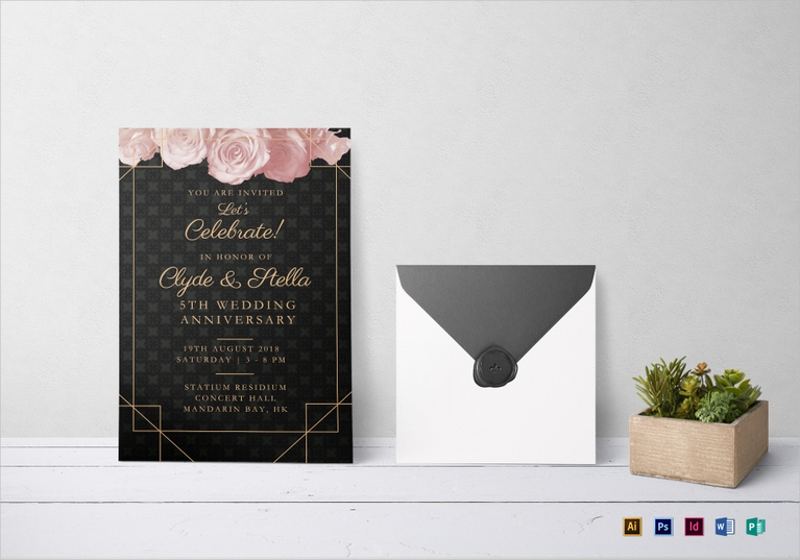 elegant wedding anniversary invitation template