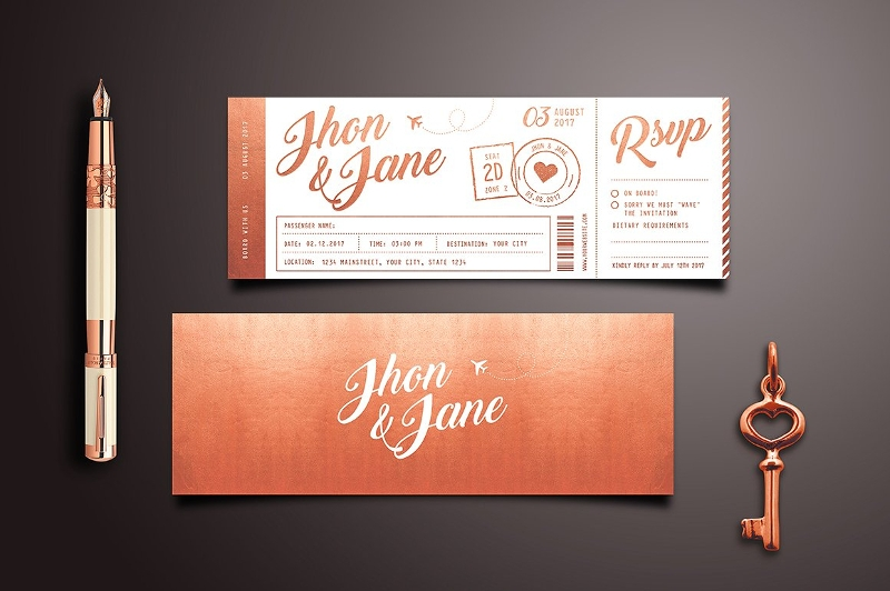 elegant wedding invitation ticket1