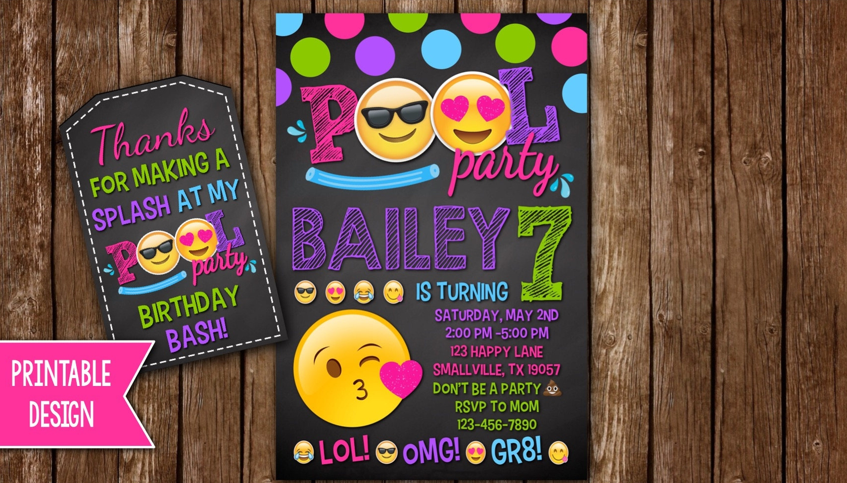emoji pool party invitation