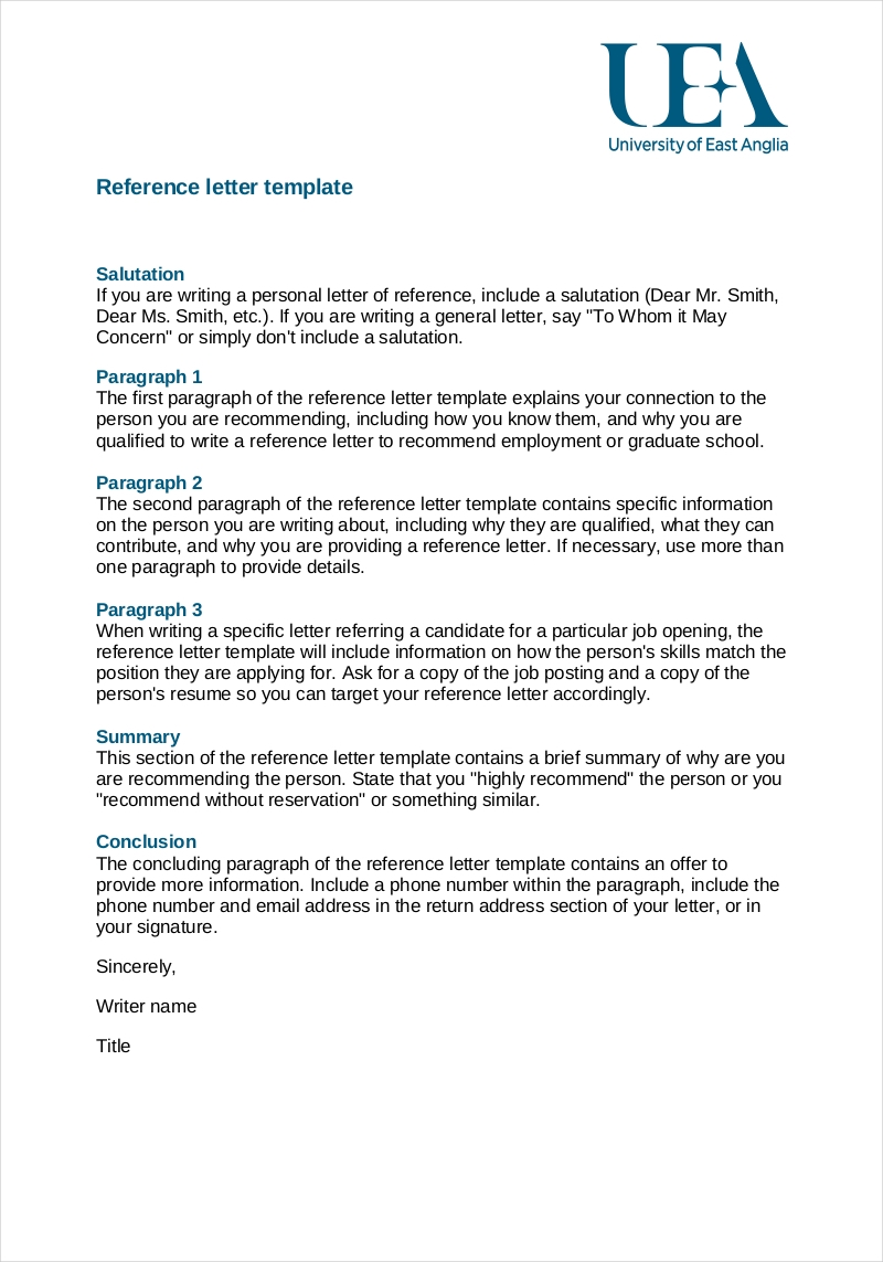 Superior Employee Reference Letter Template