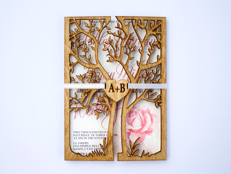 engraved luxury wedding invitation