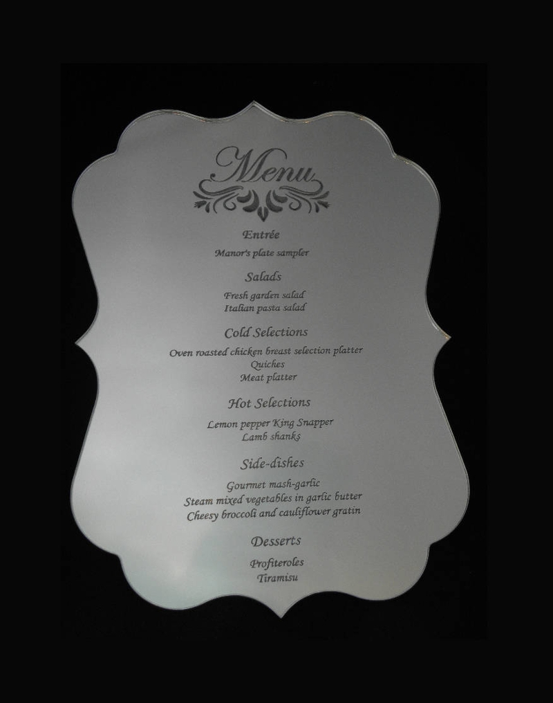 engraved mirror acrylic invitation design