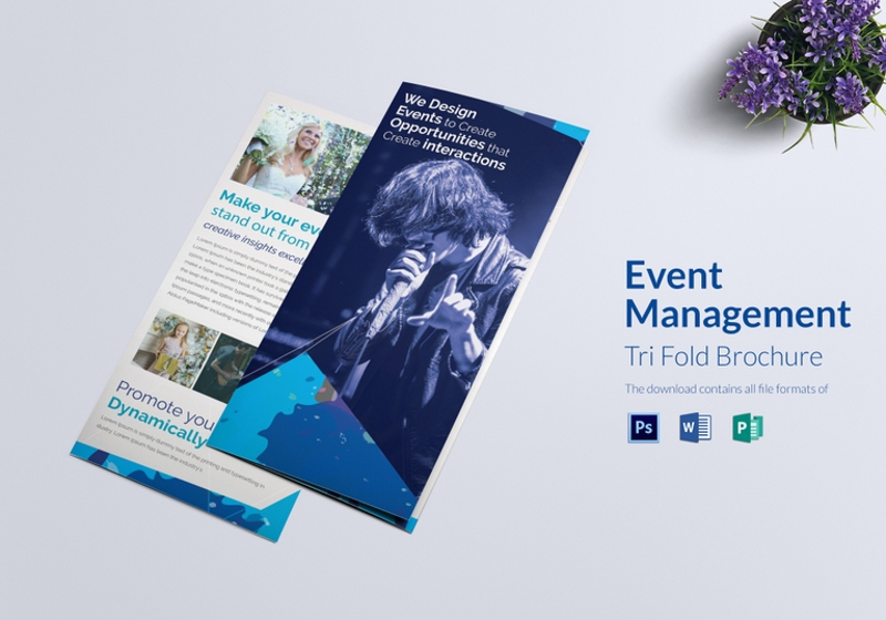 event management tri fold brochure template