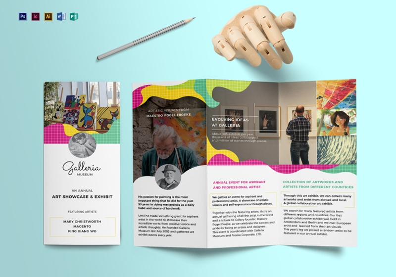 event and artistic tri fold brochure template