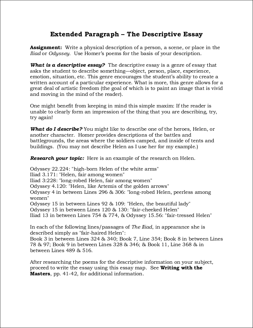 Examples of a descriptive essay