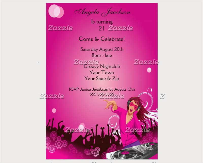 fabulous pink lady dj party invitation card
