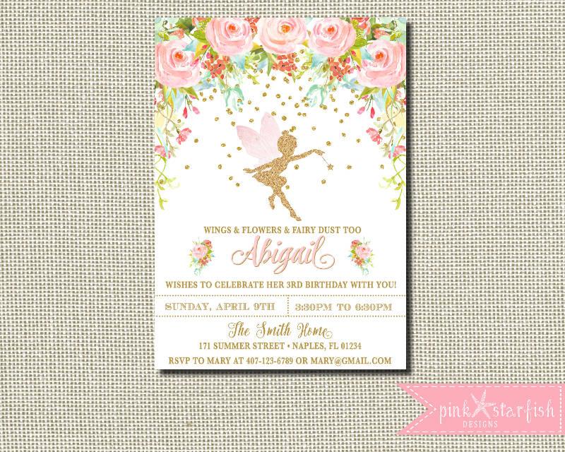 fairy birthday invitation template