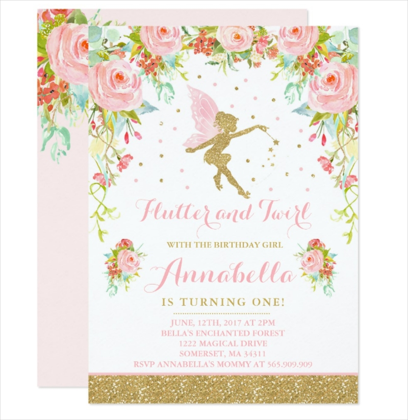 fairy birthday whimsical magical invitation