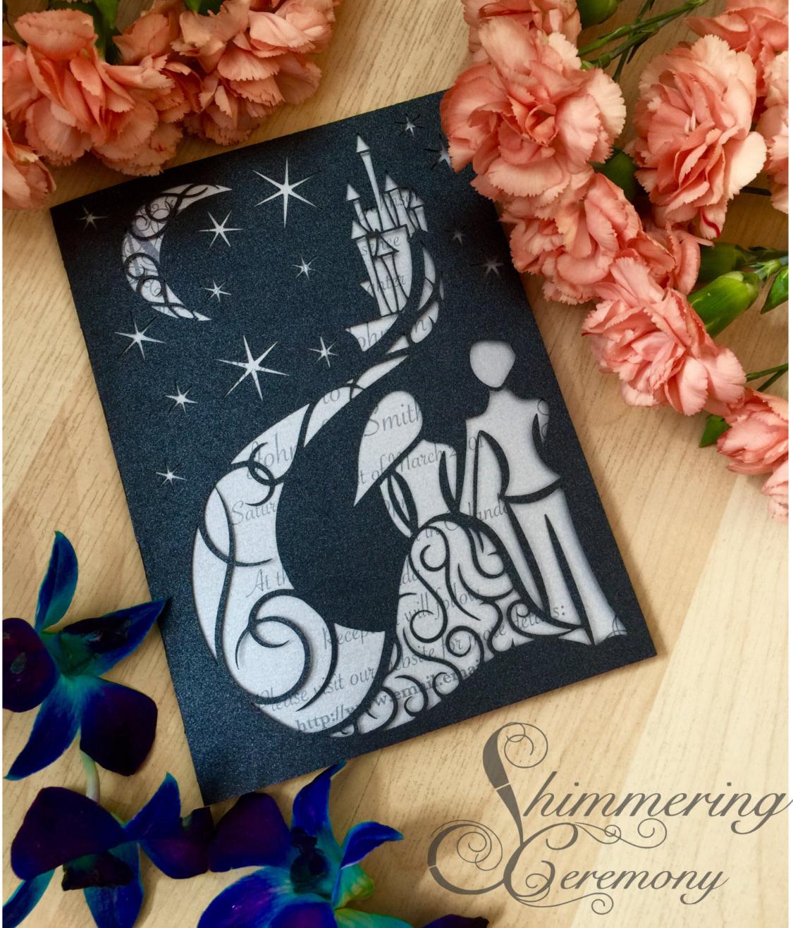 fairytale blue night wedding invitation