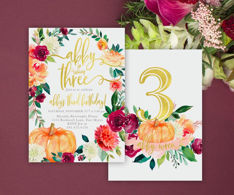 fall birthday invitation