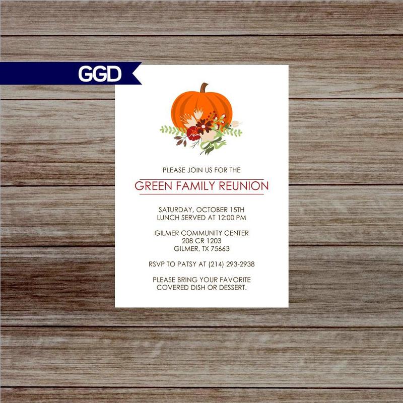 fall pumpkin family reunion invitation