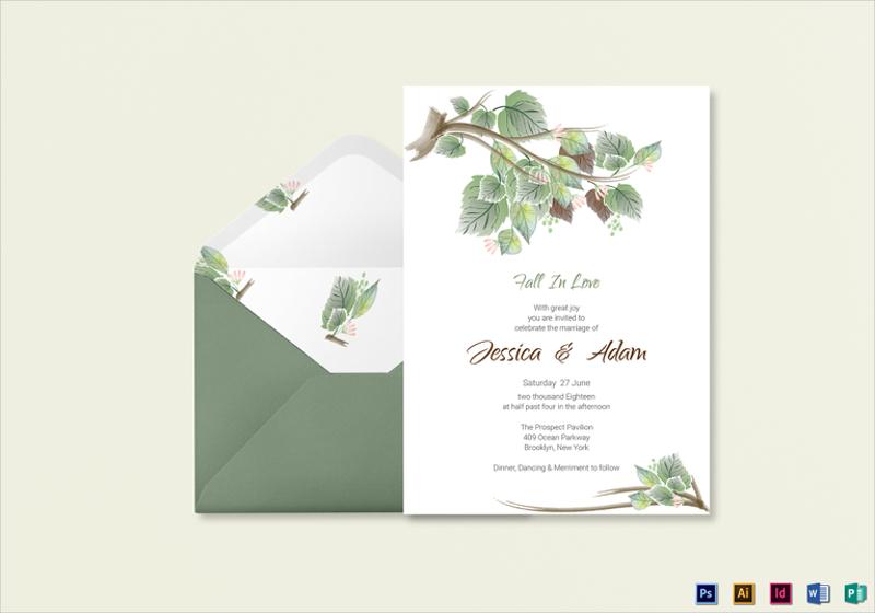 fall wedding invitation card template1