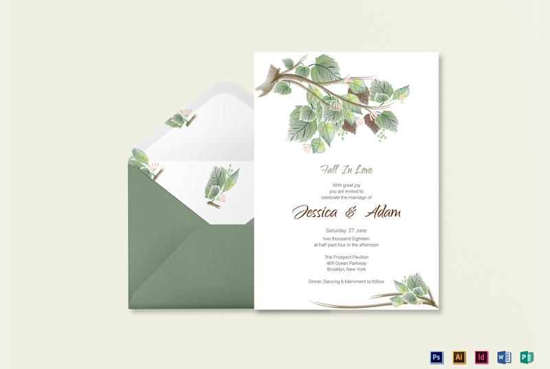 fall wedding invitation card