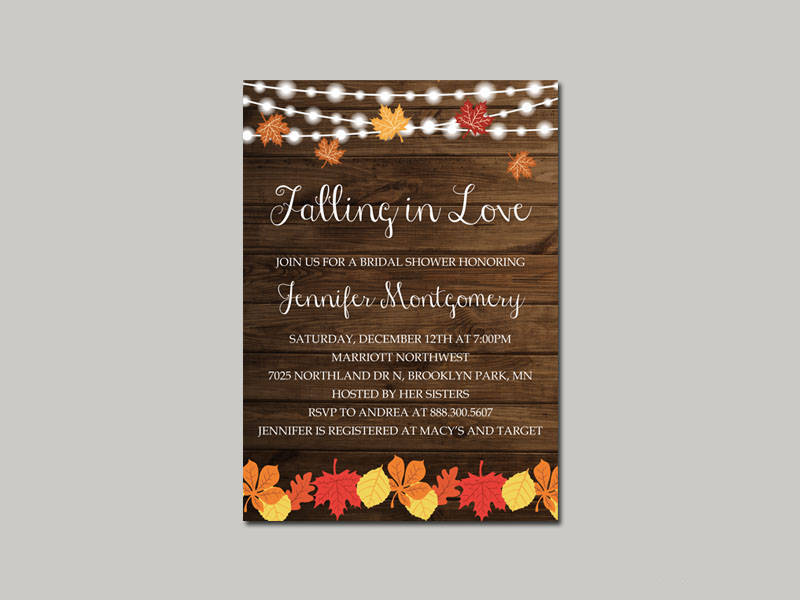 fall in love bridal shower invitation template