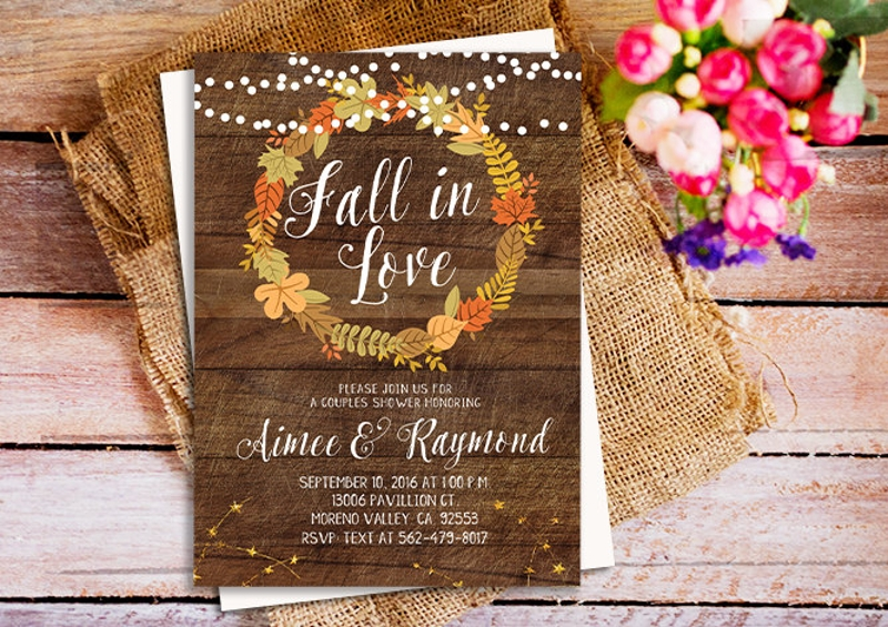 fall in love couple shower invitation