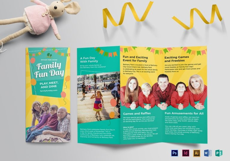 family fun day tri fold brochure template