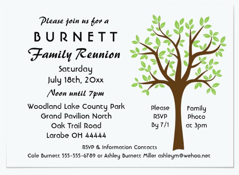 family tree reunion invitation card