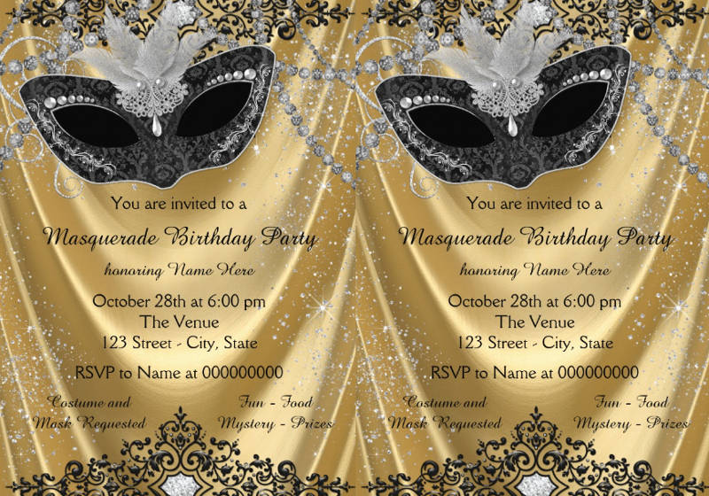 13  masquerade birthday invitation designs and examples