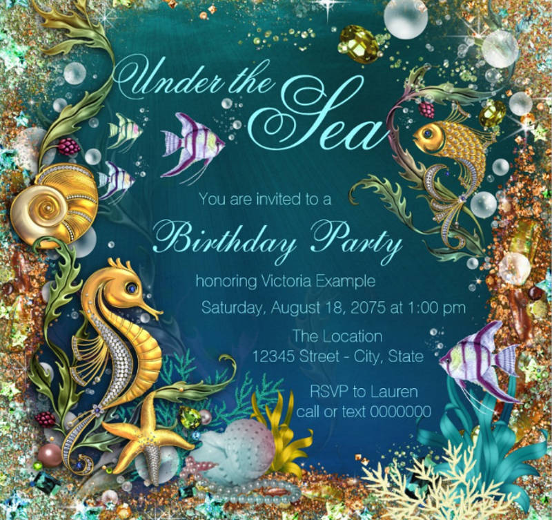 fancy under the sea birthday party card