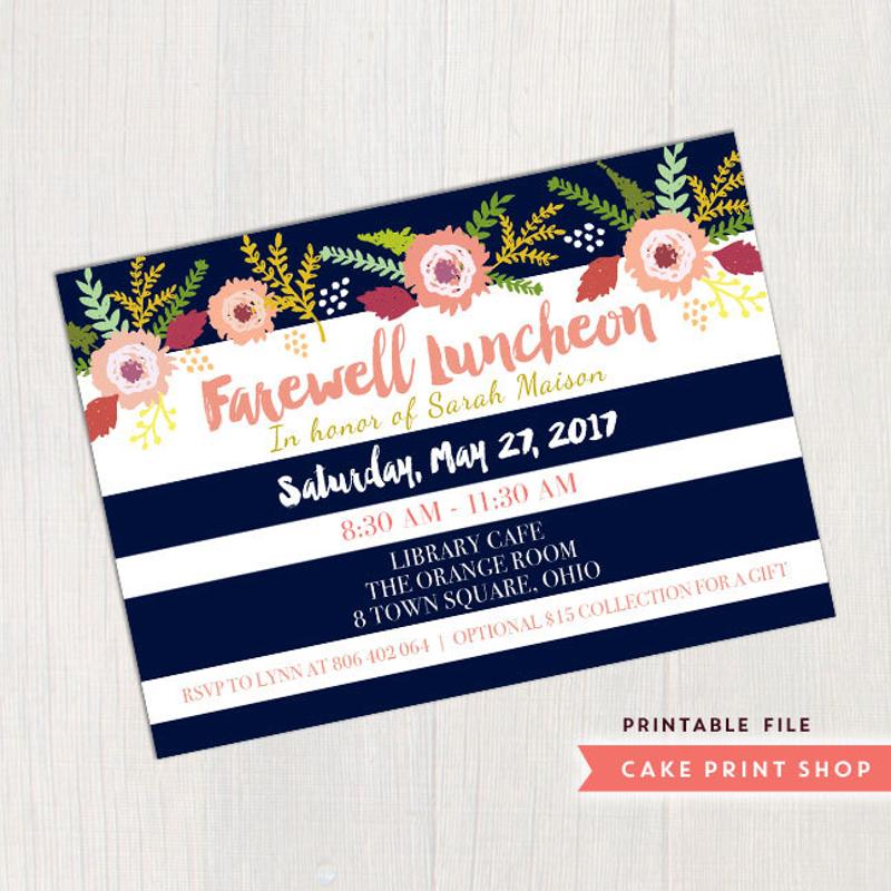 farewell luncheon party invitation