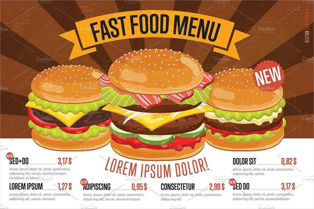 Fast Food Lunch Menu