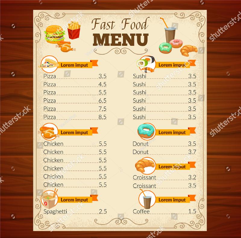 Food Menu Card Samples