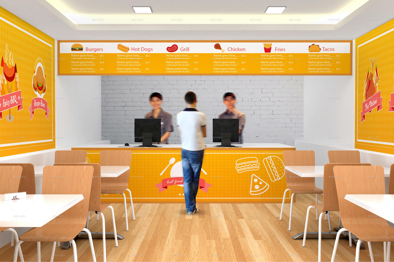 fast food restaurant branding mockup