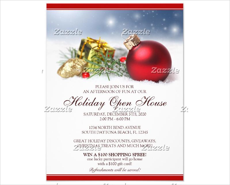 festive holiday open house invitation