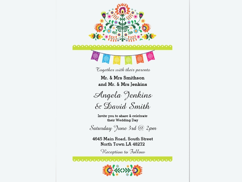fiesta wedding party colorful invitation1