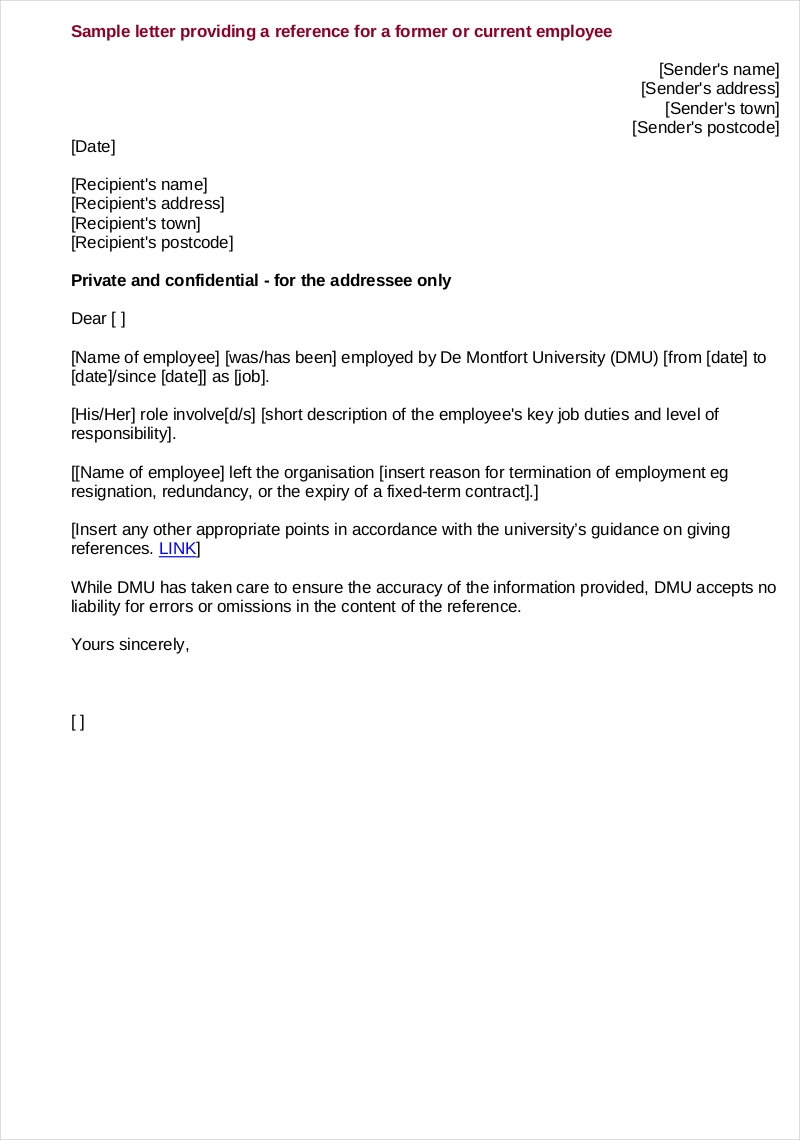 Fillable Employment Reference Letter Sample
