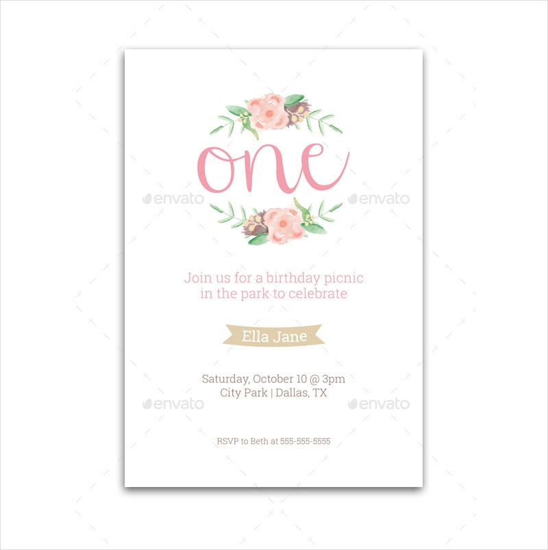 first birthday invitation in psd