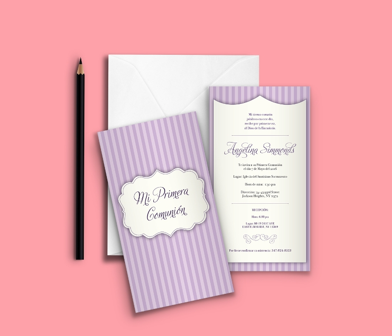 first communion invitation template design