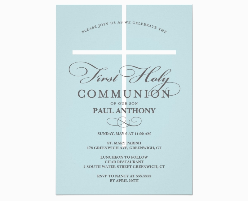 first holy blue communion invitation