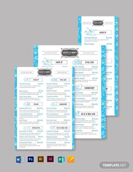 fish chip shop seafood menu template