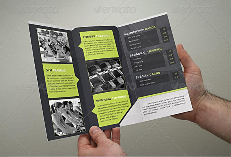 fitness club tri fold gym brochure