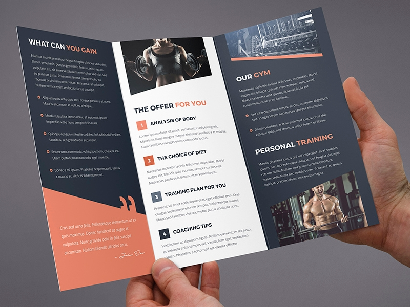 fitness gym tri fold brochure design