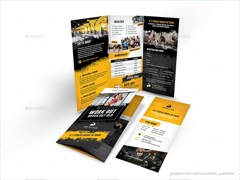 fitness gym trifold business brochure