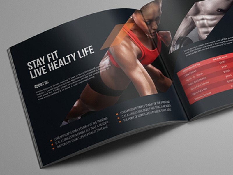 fitness square bifold brochure design