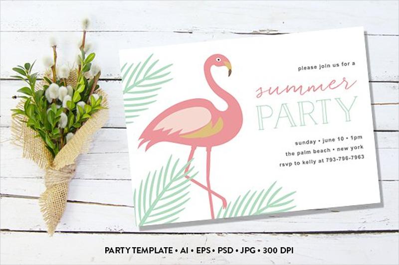 flamingo summer party invitation