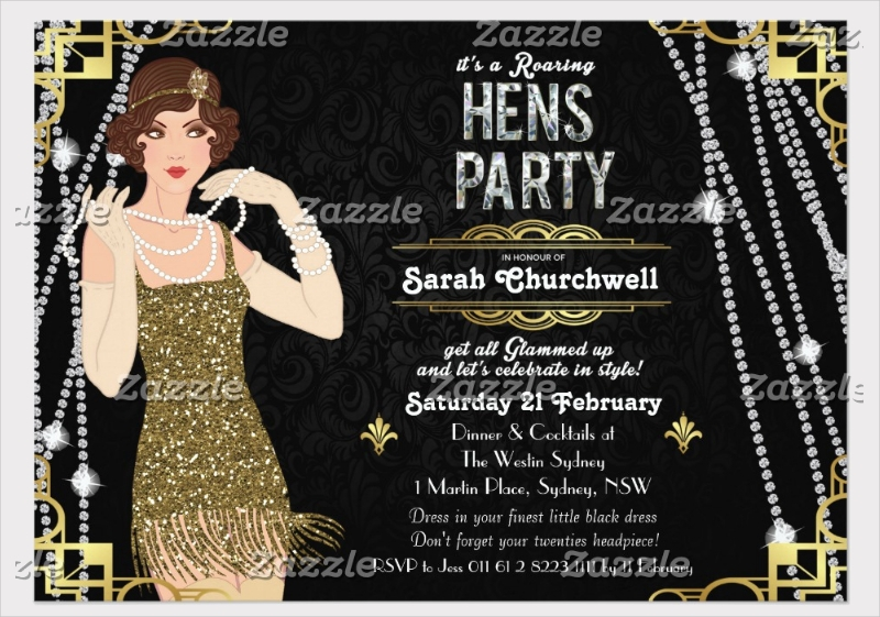 flapper girl hens party invitation